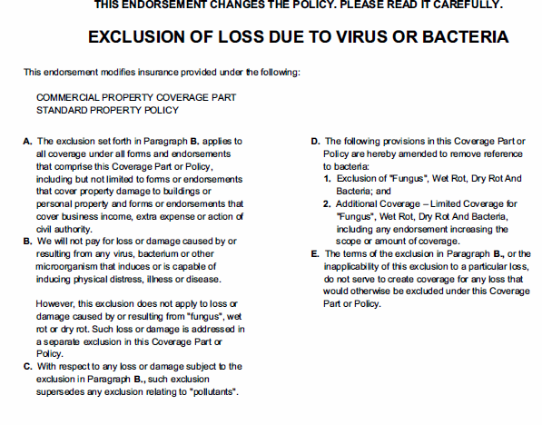 Virus Exclusion in Some Insurance Policies