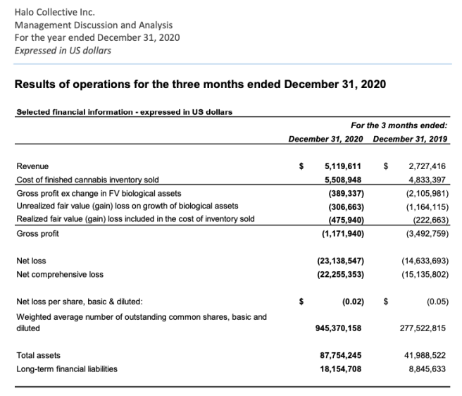 Halo Collective Shares Outstanding