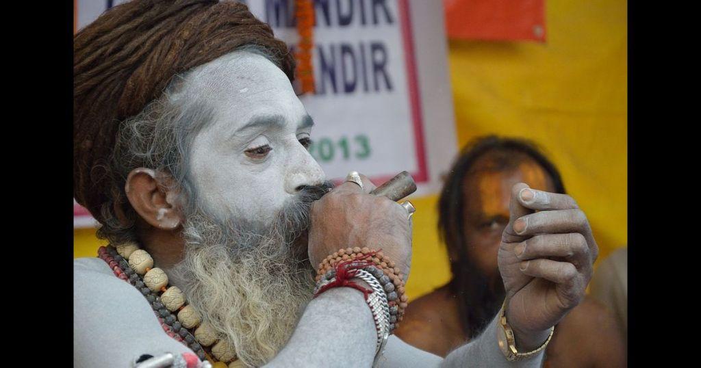 Sadhu smoking pot