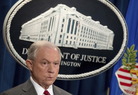 Attorney General Jeff Sessions attends a news conference at the Justice Department in Washington, Friday, Aug. 4, 2017. Sessions has warned of a crackdown on marijuana. But documents obtained by The Associated Press show he's getting no fresh avenues from a special task force formed to find the best strategy.
