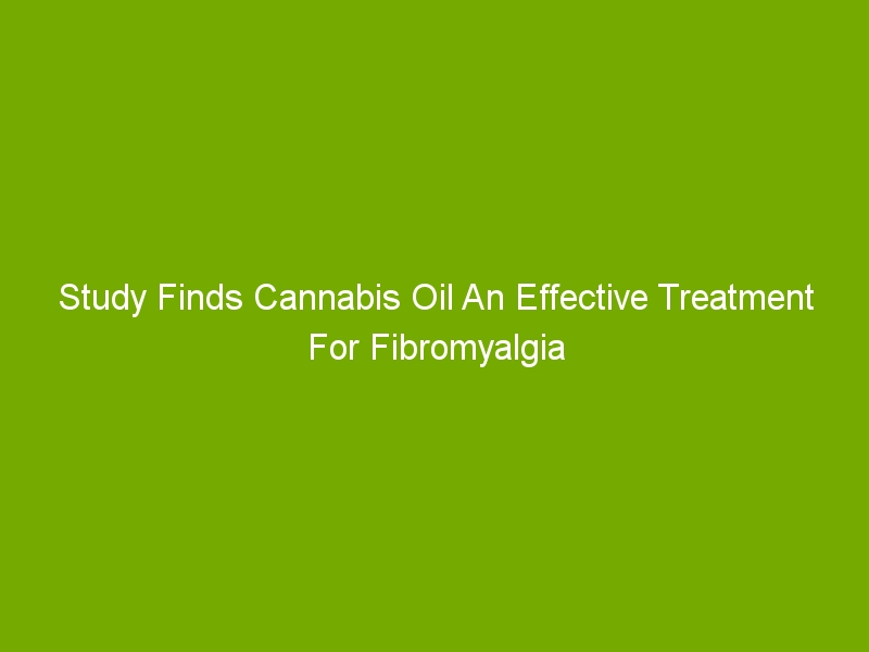 Study Finds Cannabis Oil An Effective Treatment For Fibromyalgia