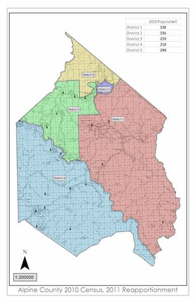 Board of Supervisors District Map of Alpine County