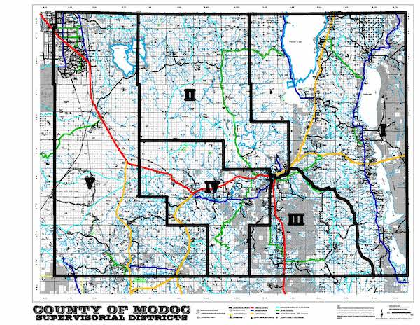 Board of Supervisors District Map of Modoc County