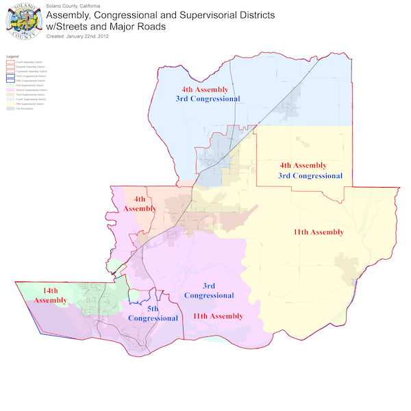 Board of Supervisors District Map of Solano County