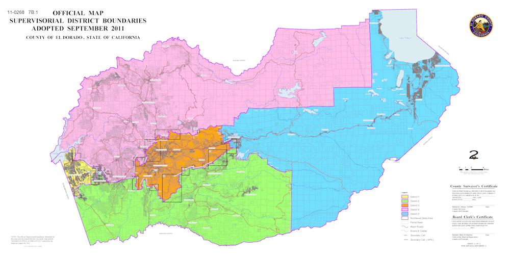 Board of Supervisors District Map of El Dorado County