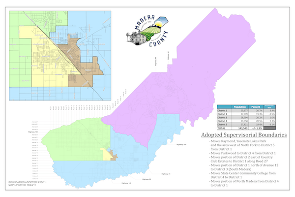 Board of Supervisors District Map of Madera County