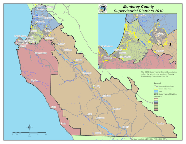 Board of Supervisors District Map of Monterey County