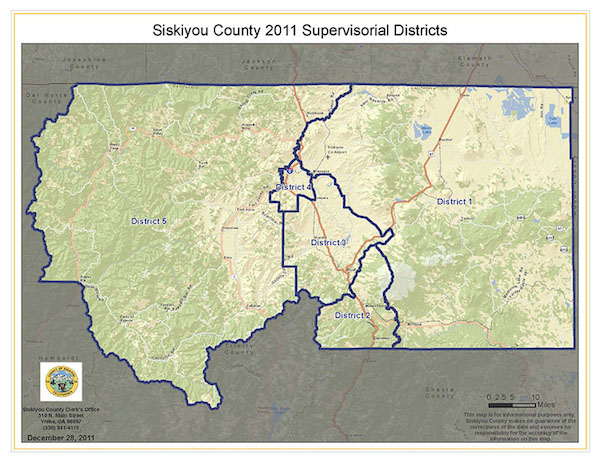 Board of Supervisors District Map of Siskiyou County