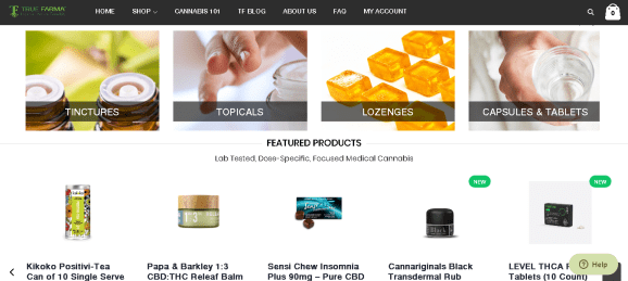 Screenshot 2019 06 16 True Farma Focused Medicinal Cannabis Delivery Products - True Farma