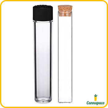 Preroll glass tube with black cap