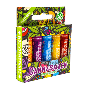 cannasmack natural hemp lip balm collection pack - five bold and vibrant flavors - cruelty free and made in the usa