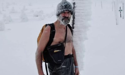 Wim Hof walking in the snow