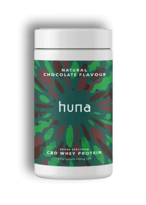 A tub of CBD Whey Protein in Chocolate Flavour by Tuna Labs