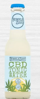 A blue and light yellow bottle of CBD tonic water from BUmble zest
