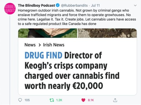A tweet about legalising cannabis in Ireland from the Rubberbandits