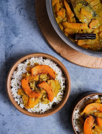 Plats de curry butternut coco