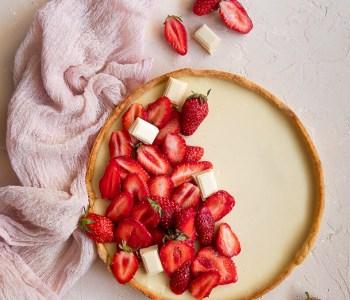 Tarte aux fraises et ganache chocolat blanc
