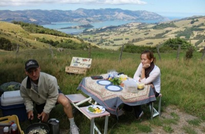 Picnic lunch above Akaroa Harbour on Akaroa Day Tour
