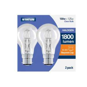 100w = 125w Bayonet Cap Halogen Light Bulb 2 Pack