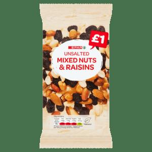 Spar Unsalted Mixed Nuts & Raisins 125g
