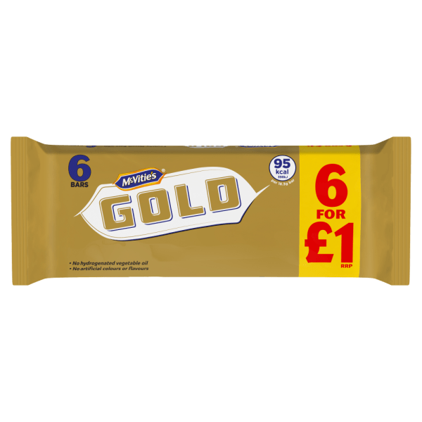 McVities Gold Caramel Flavour Biscuits 6 Bars 106g