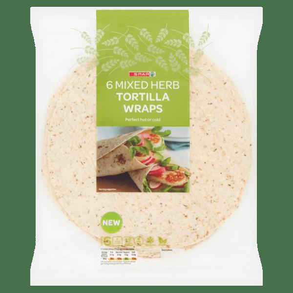 Spar 6 Mixed Herb Tortilla Wraps 420g