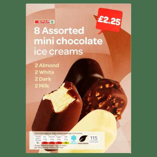 Spar 8 Assorted Mini Chocolate Ice Creams 269g