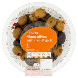 Spar Mixed Olives with Garlic & Chilli 150g