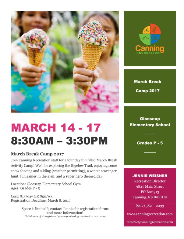 Canning Recreation Department March Break Camp poster 2017