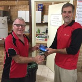 Tuesday 22nd September 2015 Club member David GArdiner presenting tonights winner Steve Coward with a movie voucher
