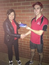 Tues 17th May 2016 : Judith Thompson presenting Jake with a movie voucher.