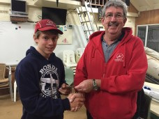 Tues 26th July 2016 : Tonights photo shows club member Dave Griffiths presenting Tom with his prize.