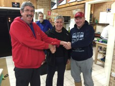 Tues 9th August 2016 : Tonight's photo shows club member Dave Griffiths presenting Joe Wilson and Steve Mitchinson with movie vouchers.