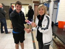 Tuesday 3rd October 2017 :  Tonights photo shows Club Secretary Judith Thompson presenting Tim Hyde with a movie voucher