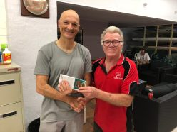 Tues 2nd Jan 2018 : Tonights photo shows Club Member David Gardiner presenting Carlo with a movie voucher