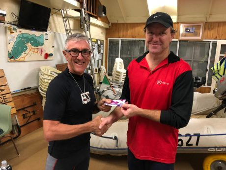 Tues 10th April 2018 : Tonight's photo shows club member Simon O'Sullivan presenting John Porteous with a movie voucher