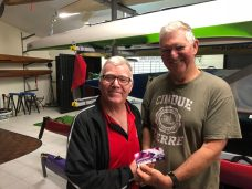 Tues 16th October 2018 Tonight's photo shows club member Jerry Alderson presenting Dave Gardiner with a movie voucher