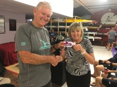 Tuesday 19th March 2019 : Tonight's photo shows club member Judith Thompson presenting Jerry Alderson with the winners movie voucher.