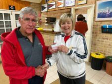 Tuesday 8th September 2020 : Tonight's photo shows club member Judith Thompson presenting tonight's winner Joe Wilson with Club Money.