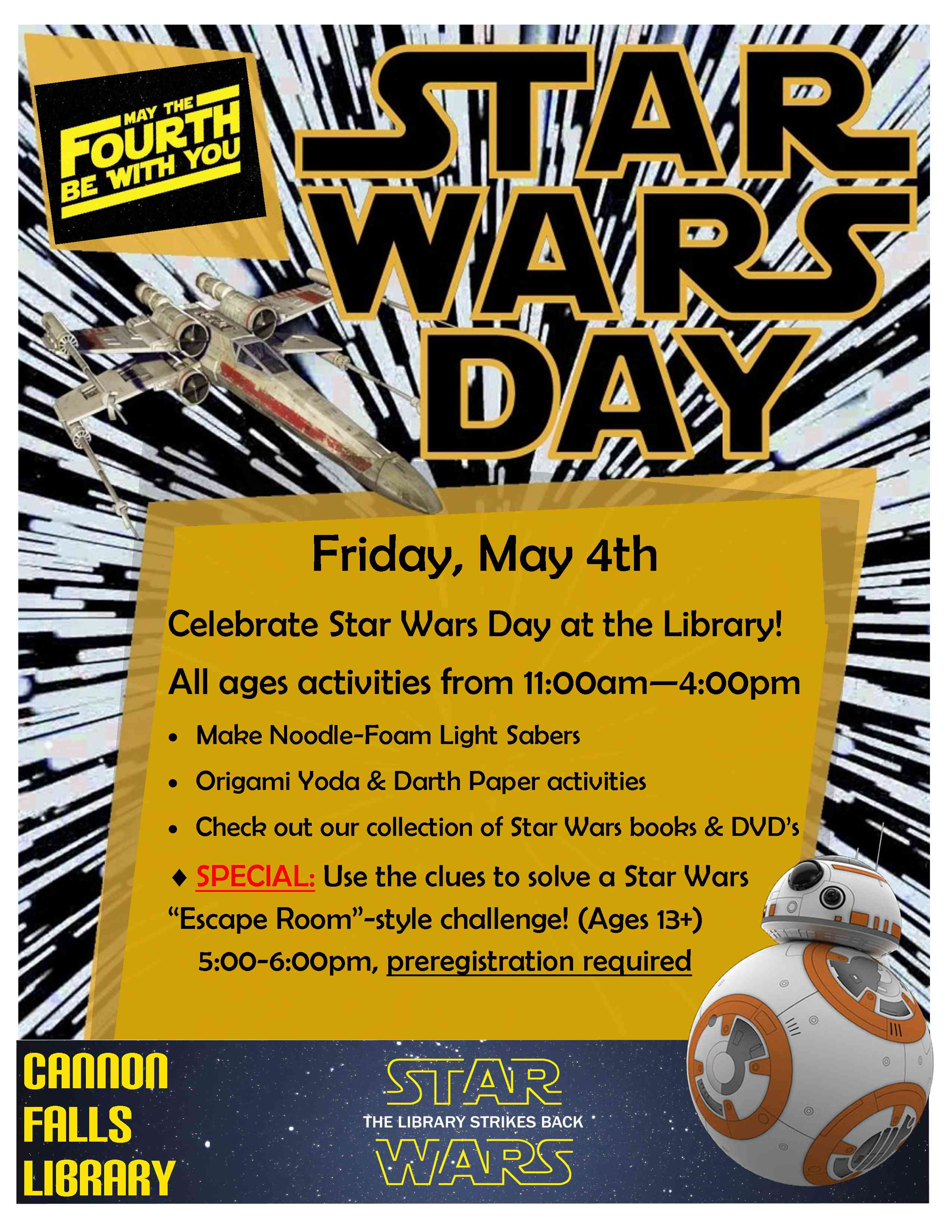 Star Wars Day May 4th Cannon Falls Library