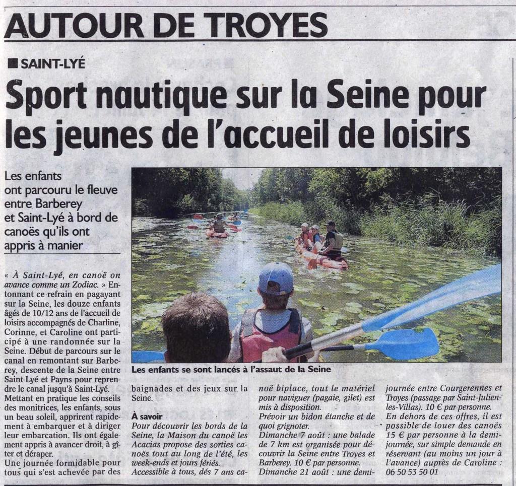 St Lyé en canoë kayak
