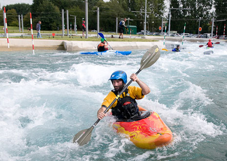 Kayakers on the Lee Valley Legacy white water course