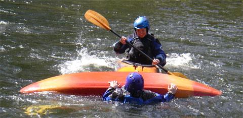 Kayak rescue practice