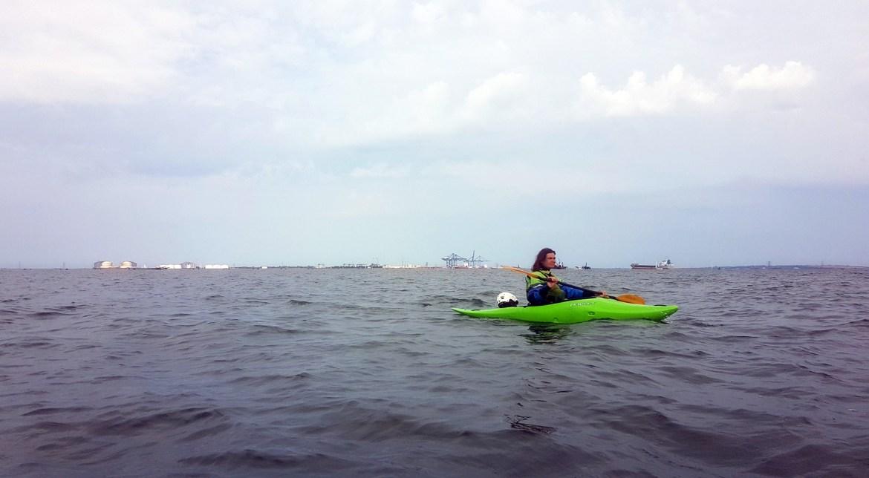 Kayaker on the River Medway estuary
