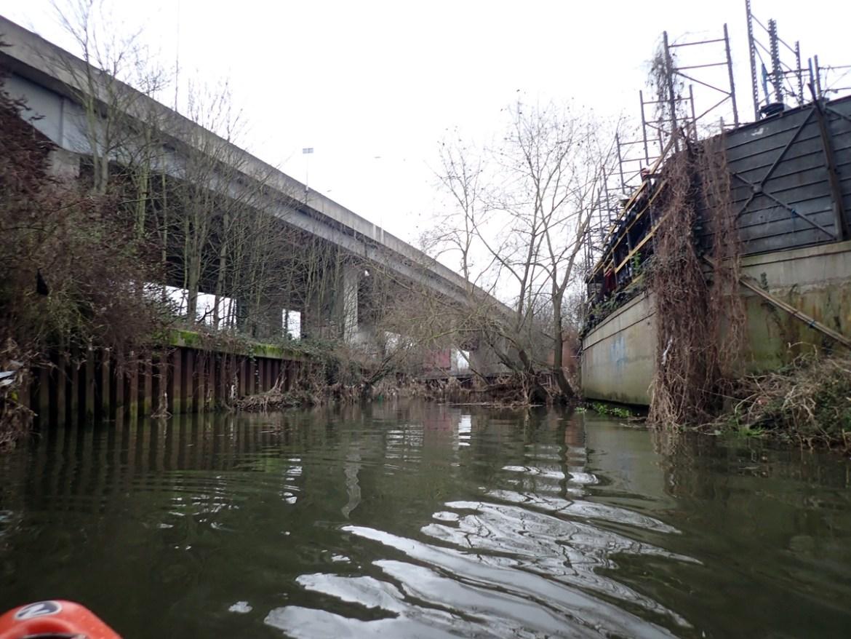 Paddling upstream into Ilford