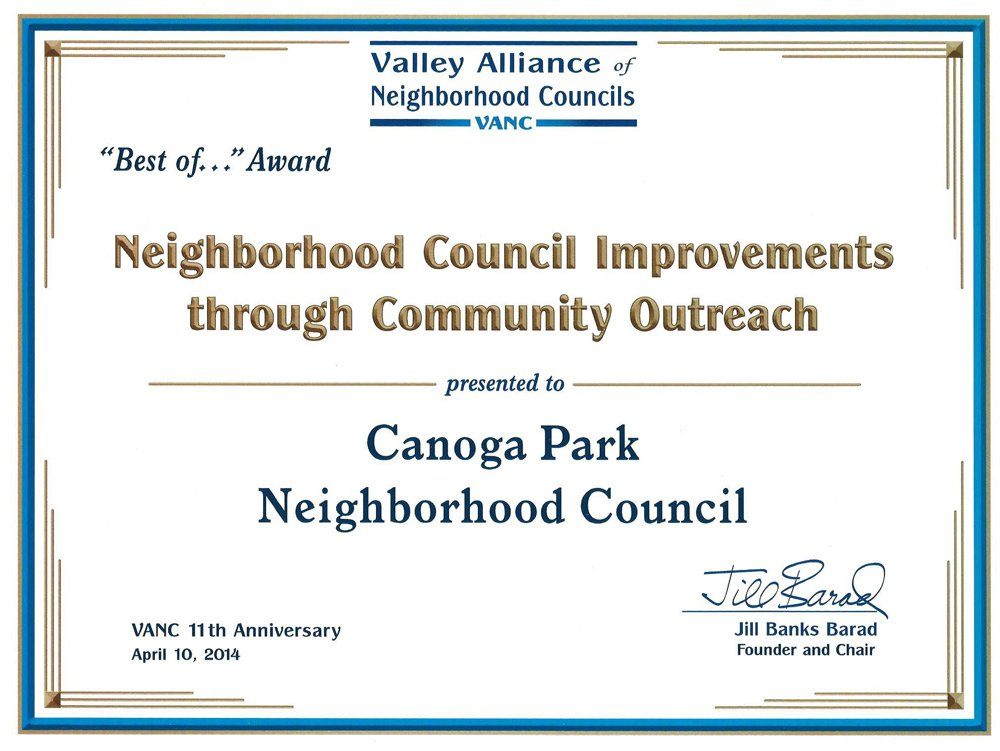 """Best of…"" Award Presented to Canoga Park Neighborhood Council"