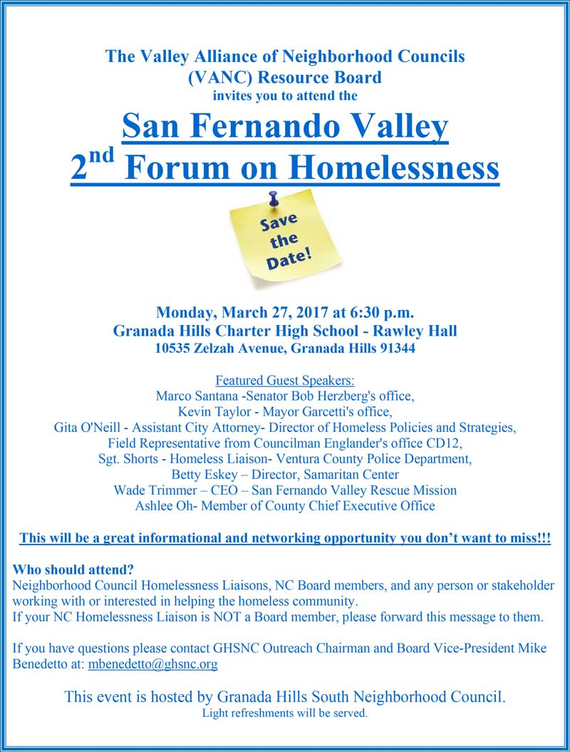 San Fernando Valley 2nd Forum on Homelessness