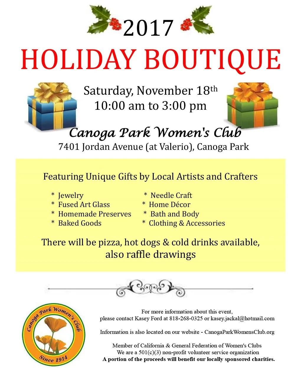 Canoga Park Women's Club 2017 Holiday Boutique