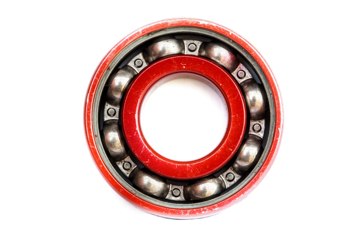 Group of bearings red isolated on white background