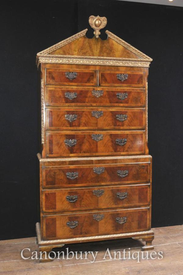 Antique Walnut Chest on Chest Cabinet English Furniture ...